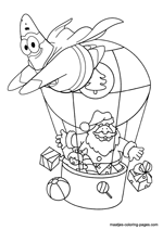 Santa Claus in an air balloon, Patrick Star, superhero flying arround