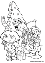 Spongebob as christmas tree and Donald Duck and Dora the Explorer with christmas presents