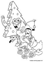 Spongebob as christmas tree and Donald Duck throwing christmas presents