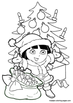 Dora the Explorer as Santa Claus under the christmas tree